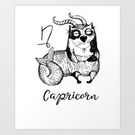Funny Capricorn Cat Zodiac January Unisex Shirt Birthday Gift Art Print