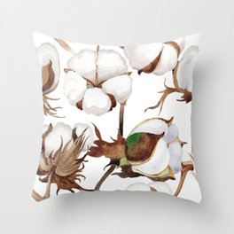 Cotton Flower Pattern 01 Throw Pillow