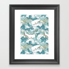 Whales and waves pattern Framed Art Print