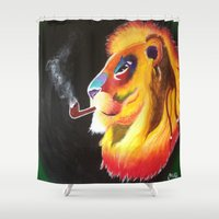 king Shower Curtains featuring King by 3rd Eye Art