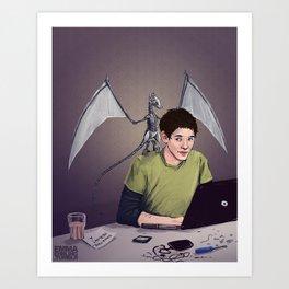 Merlin and the Mechadragon Art Print