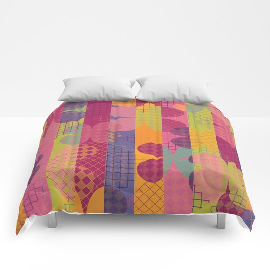 Abstract Colorful Floral Pattern Comforters