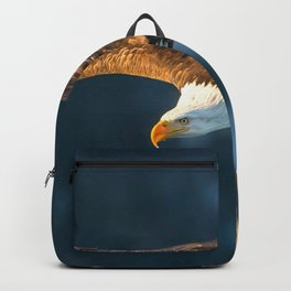Marvelous Gracious American Bald Head Eagle Majestic Flying Gliding Through Air Close Up Ultra HD Backpack