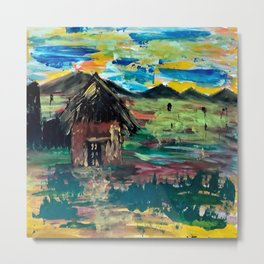 Indian Village Scenery painting on canvas Metal Print