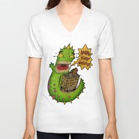 monster V-neck T-shirts featuring Monster by Twisted Dredz