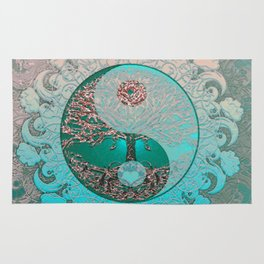 Pretty Chic Teal Tree of Life with Yin Yang and Heart Rug