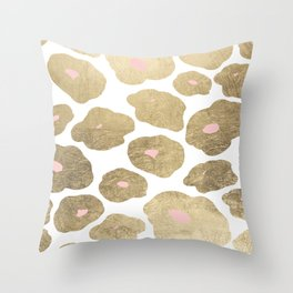 Elegant pink faux gold abstract leopard animal print Throw Pillow