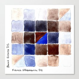 Color Chart - Burnt Sienna (DS) and French Ultramarine (DS) Canvas Print