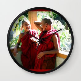 Laughter at th Monastey, Myanmar Wall Clock