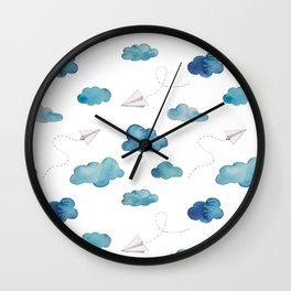 paper airplanes flying amongst the blue clouds Wall Clock
