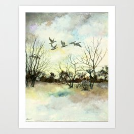 Winter Canada Geese Art Print