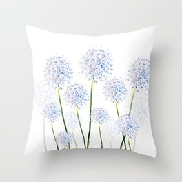 Pretty Flowers in Blue and Violet Throw Pillow