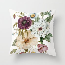 Colorful Wildflower Bouquet on White Throw Pillow