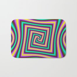 Angular Spiral in Violet Yellow and Turquoise Bath Mat
