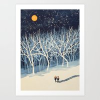 trees Art Prints featuring If on a Winter's Night Young Lover's... by Paul Sheaffer