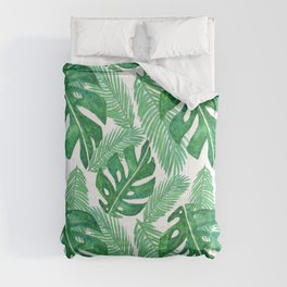 Tropical Monstera Leaf Pattern Green Comforters