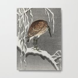 Heron sitting on snowy tree - Vintage Japanese Woodblock Print Metal Print