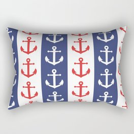 Nautical Sailor Stripes with Anchor Pattern Blue and Red 241 Rectangular Pillow