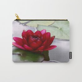 Dark Red Water Lily Carry-All Pouch