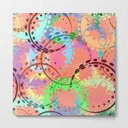 Texture of pastel gears and laurel wreaths in kaleidoscopic pink style. Metal Print