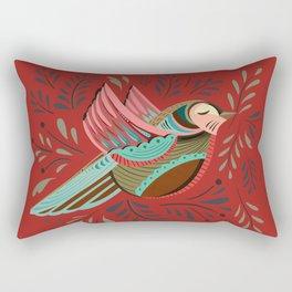 Peace Bird   Orange-Red Rectangular Pillow