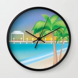 Cayman Islands - Skyline Illustration by Loose Petals Wall Clock