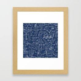 Physics Equations // Navy Framed Art Print