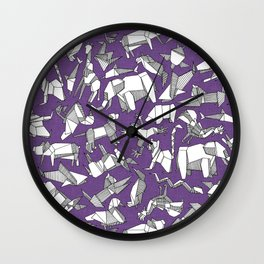 origami animal ditsy purple Wall Clock