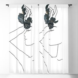 Minimal Line Art Woman with Flowers Blackout Curtain