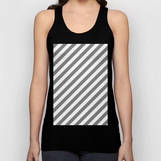 Diagonal Stripes (Gray/White) Unisex Tank Top