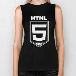 HTML5 Vintage Style Logo Shirt for Web Developers Biker Tank
