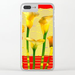 Modern Golden Calla Lilies Red Art Clear iPhone Case