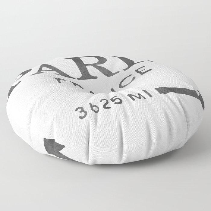 black watercolor paris france Floor Pillow