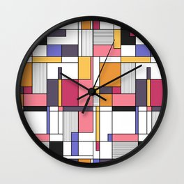 Abstract colored shapes and forms Wall Clock