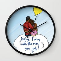friday Wall Clocks featuring FRIDAY by RM2 Designs