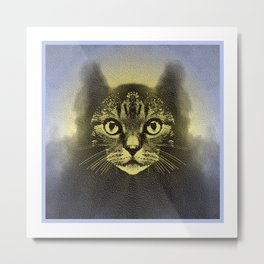 Full Moon Feline Metal Print