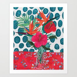 Tropical Bouquet in Living Coral and Emerald Green Art Print
