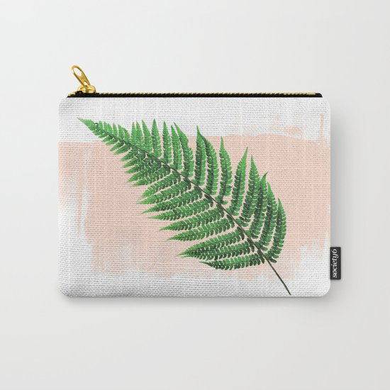 Fern Leaf on Pink Carry-All Pouch