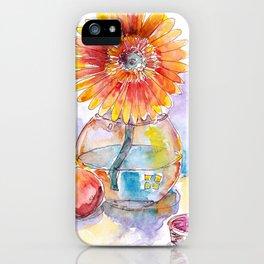 Still life - gerbera flower in vase by watercolor iPhone Case