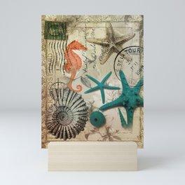 french botanical art seahorse teal green starfish Mini Art Print