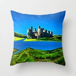Conway Castle (Digital Art) Throw Pillow