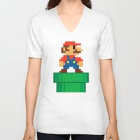 mario bros V-neck T-shirts featuring Mario Bros by WaXaVeJu