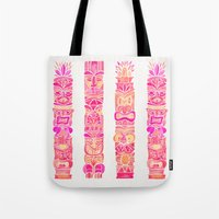 tiki Tote Bags featuring Tiki Totems – Pink Palette by Cat Coquillette
