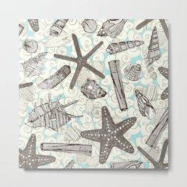 seashells and starfish aqua natural Metal Print