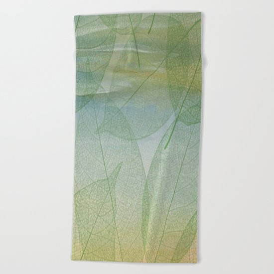Delicate Painterly Leaves Beach Towel