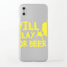 Will Belay For Beer Funny Rock Climbing Clear iPhone Case