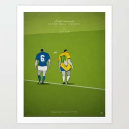 Great moments in football history - The Fight (1982) - Zico - Italy vs Brazil Art Print