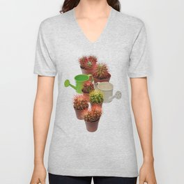 Bunch of multicolor cactuses and watering cans Unisex V-Neck