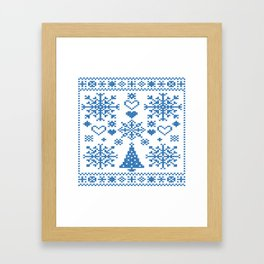 Christmas Cross Stitch Embroidery Sampler Teal And White Framed Art Print
