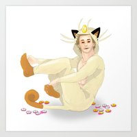 onesie Art Prints featuring Remy + Meowth Onesie by wowcherrim